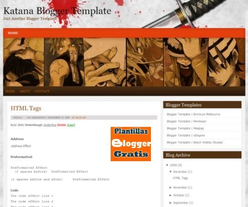 Descargar plantilla Katana para blogger