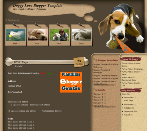 Plantilla para Blogger Doggy Love