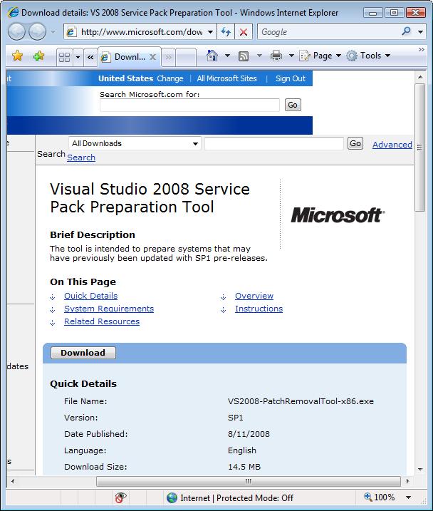 Download Visual Studio 2008 Service Pack 1 ATL Security