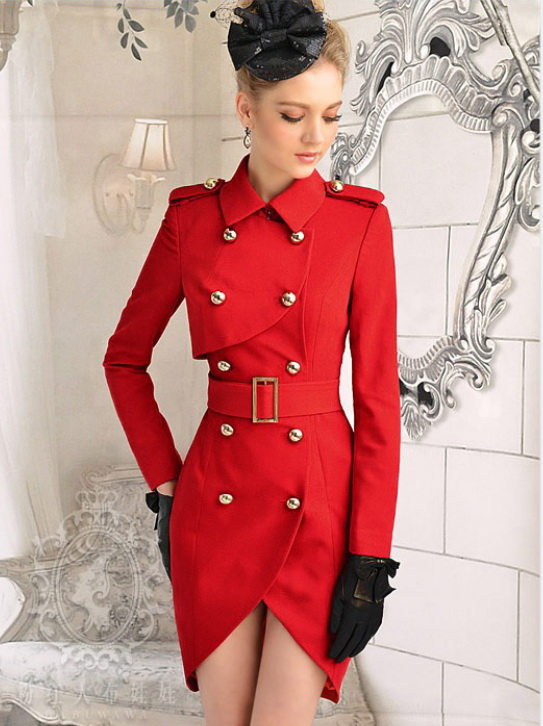 Women Red Military Trench Coat Long Jacket Double breasted Belt