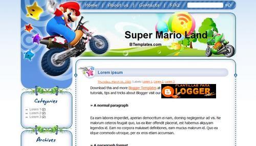 Descargar plantilla de Super Mario para blogger