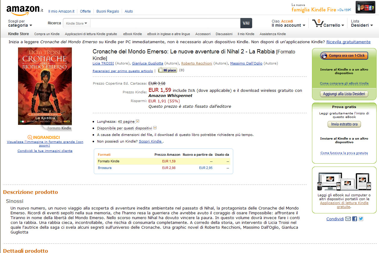 Amazon kindle store panini fumetti