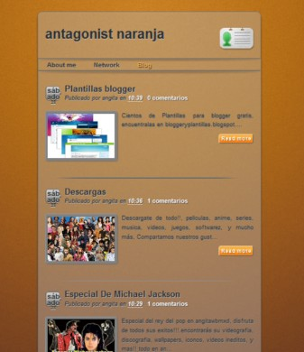 The Antagonist Orange - Plantillas para blogger