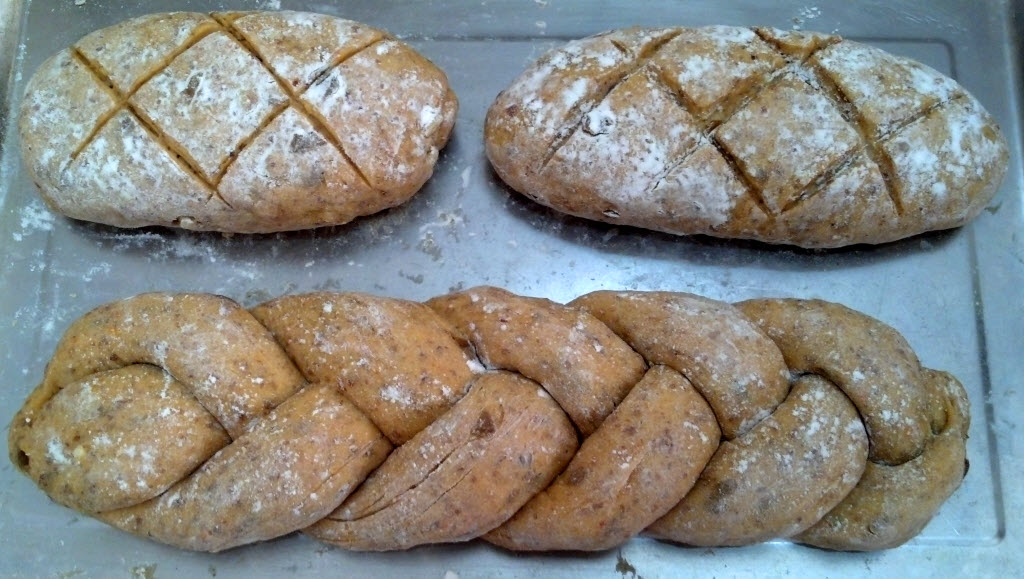 梅子番茄亞麻仁籽麵包(發酵前)