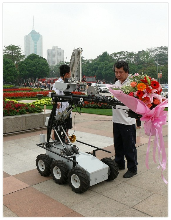 EOD Robots, carring  a bunch of flowers