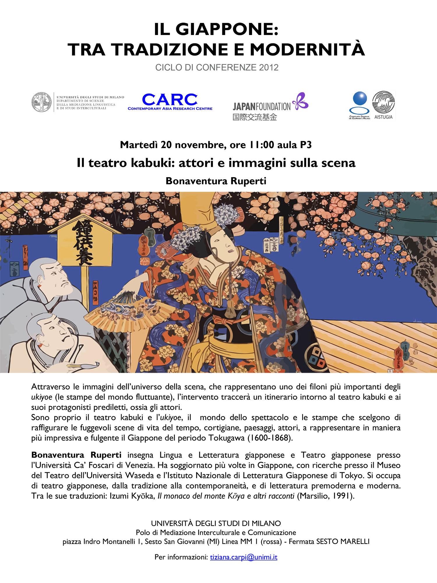 Il teatro kabuki: attori e immagini sulla scena - Milano