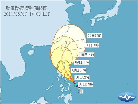 颱風路徑潛勢預報圖(2011AERE)