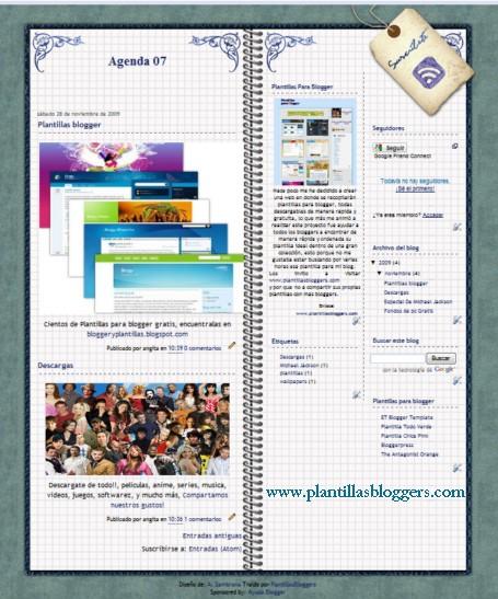 Plantilla Agenda 07 para blogger