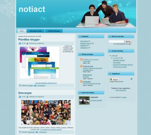Plantilla NotiAct Gratis para Blogger