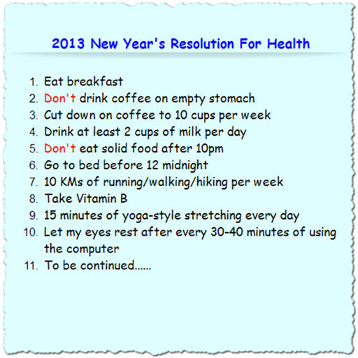 2013 New Year's Resolution For Health