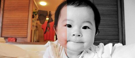 Photoshopで写真をモノクロにする際はチャンネルミキサーを使うと良いらしい