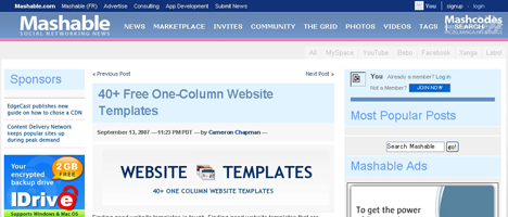 素敵な1カラムデザインのサイトを集めたブログ。その数40サイト