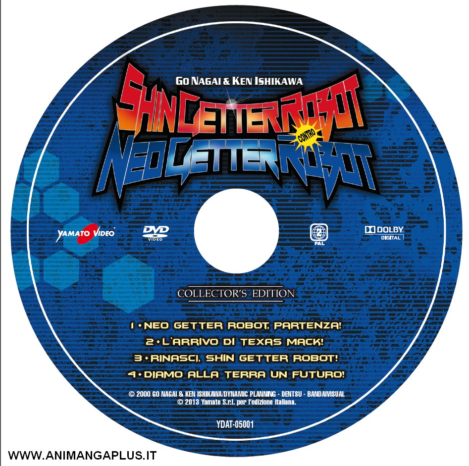 Shin getter robot vs. neo getter robot dvd label