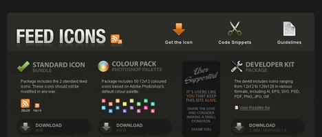ミニサイズのフィード(RSS)アイコンが無料でダウンロードできるサイト